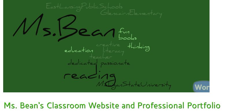 Ms. Bean's Classroom Website and Professional Portfolio